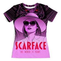 """Футболка с полной запечаткой (женская) """"Scarface"""" - кино, мафия, лицо со шрамом"""