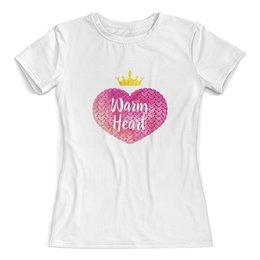 """Футболка с полной запечаткой (женская) """"Теплое сердце"""" - сердце, арт, корона, розовый, вязание"""