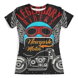 """Футболка с полной запечаткой (женская) """"Legendary riders"""" - мотоцикл, скорость, гонщик, транспорт, крылья"""