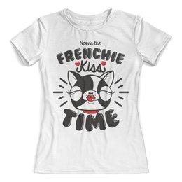 """Футболка с полной запечаткой (женская) """"Французский бульдог"""" - собака, сердечки, бульдог, год собаки, сердце"""