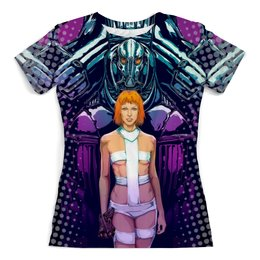 """Футболка с полной запечаткой (женская) """"Fifth Element Design"""" - фантастика, пятый элемент, лилу, мила йовович, киноманам"""