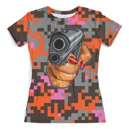 """Футболка с полной запечаткой (женская) """"Hand & Gun"""" - жене, женщине, камуфляж, с пистолетом, киноманам"""