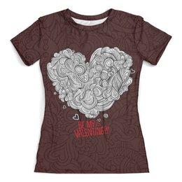 """Футболка с полной запечаткой (женская) """"Valentine's day"""" - valentine's day, 14 февраля, день влюбленных, любовь"""