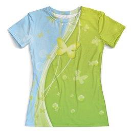 """Футболка с полной запечаткой (женская) """"Летний мотив"""" - бабочки, небо, трава, лето, мыльные пузыри"""