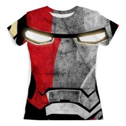 """Футболка с полной запечаткой (женская) """"Iron man"""" - арт, супергерои, мстители, железный человек, тони старк"""