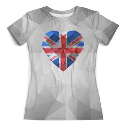 """Футболка с полной запечаткой (женская) """"Флаг Британии"""" - сердце, англия, кристалл"""