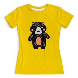 """Футболка с полной запечаткой (женская) """"мишка"""" - животные, медведь, мишка, мульт, медвежонок"""
