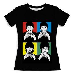 """Футболка с полной запечаткой (женская) """"Beatles"""" - музыка, рисунок, the beatles, битлз, попарт"""