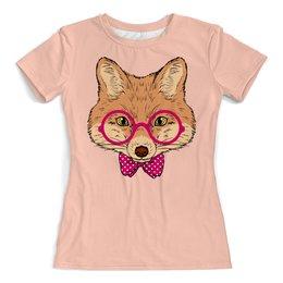 """Футболка с полной запечаткой (женская) """"Лисичка"""" - очки, fox, лиса, животное"""