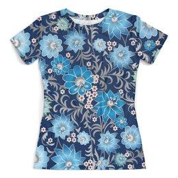 """Футболка с полной запечаткой (женская) """"Синие цветы"""" - стиль, мода, цветочки, 3d"""