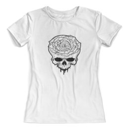 """Футболка с полной запечаткой (женская) """"Череп"""" - череп, цветы, скелет, роза, розы"""