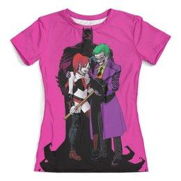"""Футболка с полной запечаткой (женская) """"The Joker Harley Quinn and Batman"""" - джокер, бэтмен, харли квинн, dc комиксы"""
