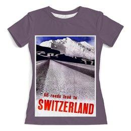 """Футболка с полной запечаткой (женская) """"Швейцария"""" - ретро, винтаж, постер, швейцария"""