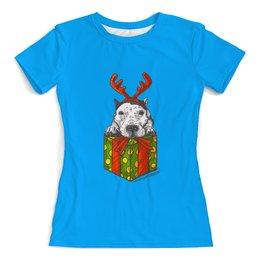 """Футболка с полной запечаткой (женская) """"новый год"""" - новый год, зима, собака, подарок, год собаки"""