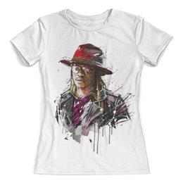 """Футболка с полной запечаткой (женская) """"Человек в шляпе"""" - человек, шляпа, очки, куртка, арт"""