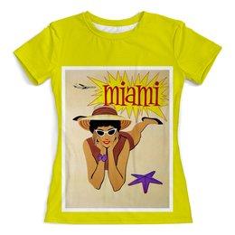 """Футболка с полной запечаткой (женская) """"Майами"""" - ретро, америка, винтаж, постер"""