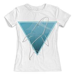 """Футболка с полной запечаткой (женская) """"Кит в морском треугольнике"""" - море, треугольник, кит, геометрия, goroshek"""