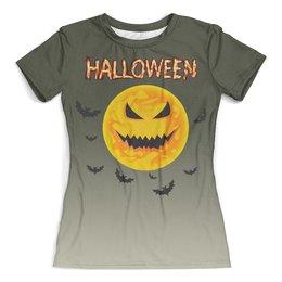 """Футболка с полной запечаткой (женская) """"Хэллоуин (1)"""" - луна, тыква, ужасы, мистика, летучие мыши"""