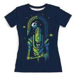 """Футболка с полной запечаткой (женская) """"Alien """" - пародия, космос, фэнтези, чужой"""