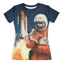 """Футболка с полной запечаткой (женская) """"GAGARIN&DOG"""" - гагарин, ракета, космонавт, юрий гагарин, с собакой"""