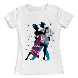 """Футболка с полной запечаткой (женская) """"Танцы. Румба"""" - рисунок, танцы, графика, минимализм, румба"""