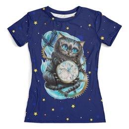 """Футболка с полной запечаткой (женская) """"Чеширский кот"""" - часы, котик, сказка, алиса в стране чудес"""