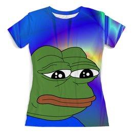 """Футболка с полной запечаткой (женская) """"SAD FROG"""" - мем, meme, грустная лягушка, sad frog"""