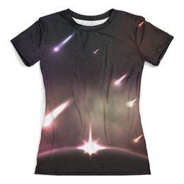 """Футболка с полной запечаткой (женская) """"Falling stars"""" - космос, дизайн, звезды, планета, астрономия"""