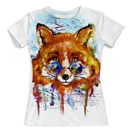 """Футболка с полной запечаткой (женская) """"fox - 1"""" - арт, рисунок, день рождения, fox, лиса"""