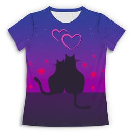 """Футболка с полной запечаткой (Женская) """"Cat's desire. Парные футболки."""" - любовь, кошки, парные, ко дню влюбленных"""