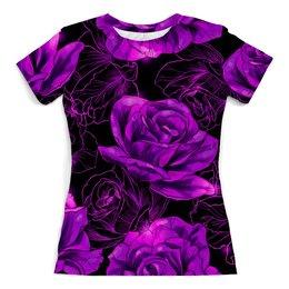 """Футболка с полной запечаткой (женская) """"Розы в цвету"""" - цветы, фиолетовый, весна, цветочки, розы"""