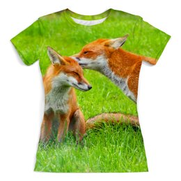 """Футболка с полной запечаткой (женская) """"Лисы (Любовь)"""" - любовь, fox, лиса, лисы"""