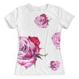 """Футболка с полной запечаткой (женская) """"Крупные розы"""" - подарок девушке, для любимой, розовый цвет, узор из роз, большие цветы"""