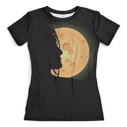 """Футболка с полной запечаткой (женская) """"Look at the moon"""" - девушка, ночь, луна, moon, для влюбленных"""