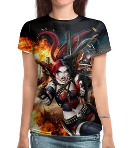 """Футболка с полной запечаткой (Женская) """"Harley Quinn"""" - комиксы, фантастика, супергерой, арлекин"""
