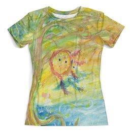 """Футболка с полной запечаткой (женская) """"Солнечный ветер"""" - романтика, дерево, ловец снов, перья"""