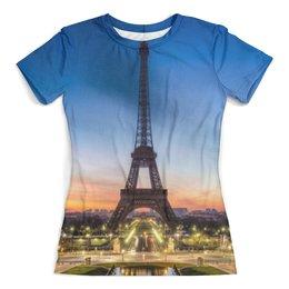"""Футболка с полной запечаткой (женская) """"Париж"""" - париж, франция, дизайн, город, арт"""