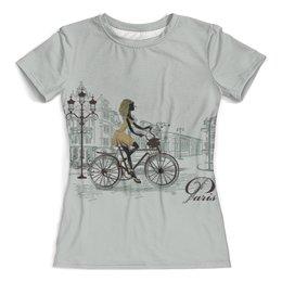 """Футболка с полной запечаткой (женская) """"Париж"""" - париж, город, велосипед, девушка, фильм"""