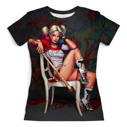 """Футболка с полной запечаткой (женская) """"Harley Quinn"""" - харли квинн, киногерои, отряд самоубийц, киноманам, любителям комиксов"""