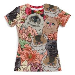 """Футболка с полной запечаткой (женская) """"Коты в цветах"""" - приколы, цветы, коты"""