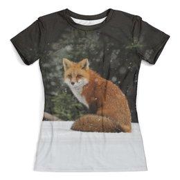 """Футболка с полной запечаткой (женская) """"Рыжая лиса"""" - лиса, лисица, лисичка, животные, природа"""
