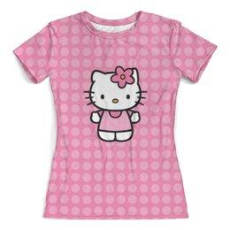 """Футболка с полной запечаткой (женская) """"Kitty в горошек"""" - мультик, hello kitty, мультфильм, для детей, привет китти"""