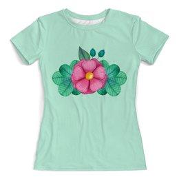 """Футболка с полной запечаткой (женская) """"Акварельный цветок"""" - цветы, растение, розовый, абстракция, акварель"""