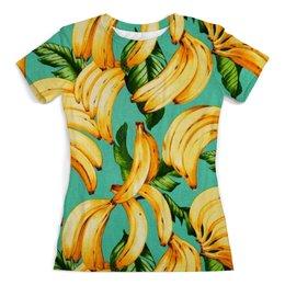 """Футболка с полной запечаткой (женская) """"Банан."""" - бананы, bananas, тропики, банан"""