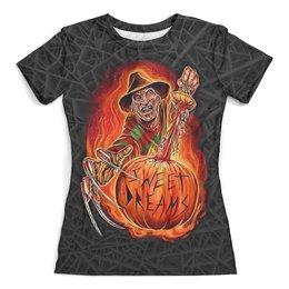 """Футболка с полной запечаткой (женская) """"Freddy Krueger (Halloween)"""" - хэллоуин, ужастик, фредди крюгер, маньяк, с ножами"""