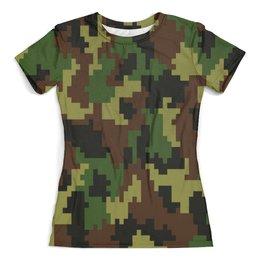 """Футболка с полной запечаткой (женская) """"Pixel"""" - 23 февраля, армия, камуфляж, пиксели, силовые структуры"""