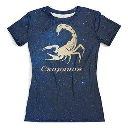 """Футболка с полной запечаткой (женская) """"Скорпион"""" - скорпион, знаки зодиака"""