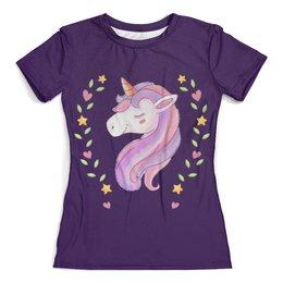 """Футболка с полной запечаткой (женская) """"Unicorn"""" - единорог, сказка, unicorn, фиолетовый, лошадь"""