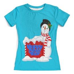"""Футболка с полной запечаткой (женская) """"Снеговик"""" - праздник, новый год, зима, снег, снеговик"""