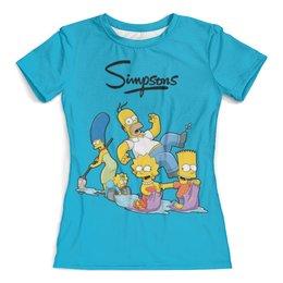 """Футболка с полной запечаткой (женская) """"Симпсоны"""" - гомер, семья, симпсоны, мульт"""